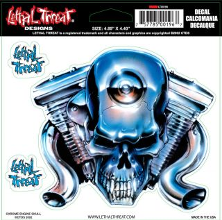 Lethal Threat Chrome V Twin Engine Skull Decal Size (1) 4.80 x 4.32