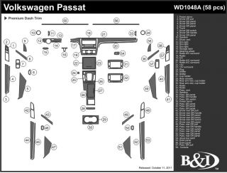 Volkswagen Passat 98 99 Interior Wood Pattern Dash Kit Trim Dashboard