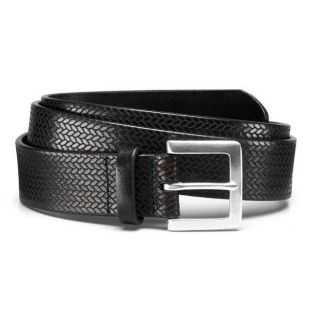Allen Edmonds Mens Blackfoot Black Leather Belt Size 38
