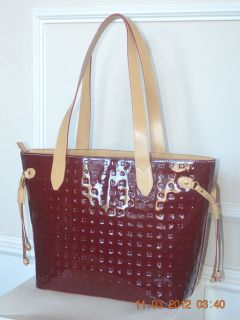 NWT Stylish Arcadia Red Polo Patent Logo Leather Bag Tote Made in