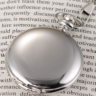 ELEGANT VINTAGEPLAIN POLISHED SILVER MENS POCKET PENDANT QUARTZ WATCH
