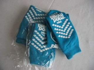 PILLOW PAWS TERRIES 3 PAIR TEAL TERRY ADULT SIZE NON SKID/SLIP SOCKS