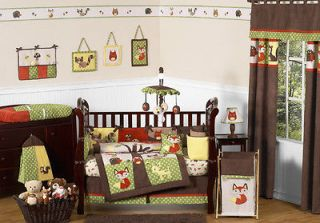 NEUTRAL OWL DEER TREE FOREST THEMED 9p BABY BOY CRIB BEDDING SET ROOM