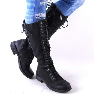 NEW WOMENS BLACK DENIM KNEE HIGH LACEUP COMBAT BOOTS SIZE 6.5