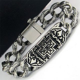 mens stainless steel bracelet heavy in Bracelets