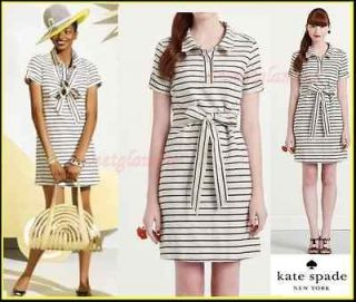 335 Kate Spade New York Dana Striped Cream Black Midas Shirtdress