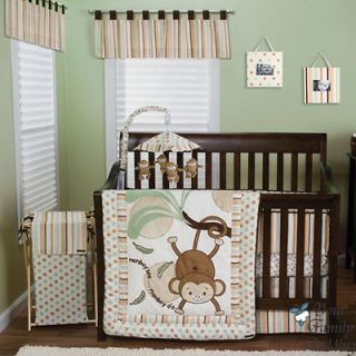 Brown Green Monkey Baby Boy Girl Neutral Kid Crib Nursery Collection