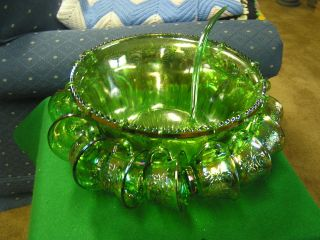 Glass GREEN Irridescent CARNIVAL Glass PUNCH BOWL & 12 CUPS w/Ladle