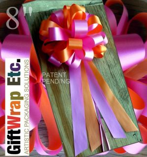 FUCHSIA ORANGE WEDDING PEW PULL BOWS GIFT CHURCH CHAIR DECORATIONS
