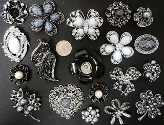 19 BLACK/GRAY RHINESTONE BROOCHES Bridal Pin Wedding Bouquet WHOLESALE