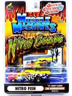 MUSCLE MACHINES NITRO COUPE NITRO FISH 41 CHEVY COUPE 164 DIE CAST