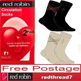 Red Robin New Mens Black Circulation Diabetes Crew 2 Pair Socks Cotton