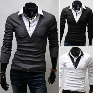 MT109 New Mens Luxury Casual Stylish Slim Fit Shirts V neck with