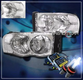 02 05 DODGE RAM PICKUP TRUCK CRYSTAL HEADLIGHT+HID 8K CLEAR 03 04 1500