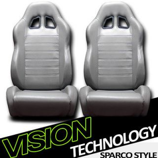 2x SP Style Grey PVC Leather Reclinable Racing Bucket Seats+Sliders