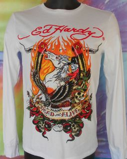 Ed Hardy By Christian Audigier Dead Or Alive Mens Rhinestone White T