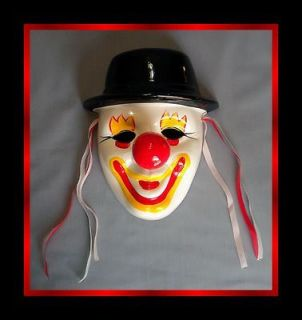 VTG DAVAR HAND PAINTED CLOWN in HAT MASK WALL ART