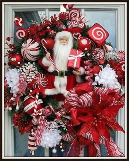 Petal Pushers~Custom Designed Santa Wreath~Christmas Wreath~Holiday