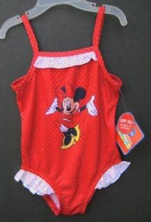 SIZE 2T 3T 4T Red Polka Dot MINNIE MOUSE Girls Swimsuit 1 Pc DISNEY
