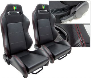 NEW 2 BLACK LEATHER + RED STITCH & LOGO RACING SEATS RECLINABLE ALL
