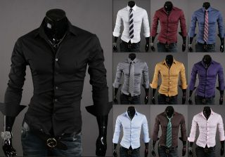 New Mens Fashion Luxury Casual Slim Fit Dress Shirts XS,S,M,L 10
