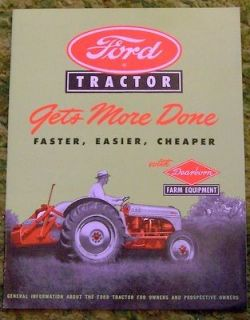 1948   1952 Ford Tractor with Dearborn Farm Equipment Sales Brochure