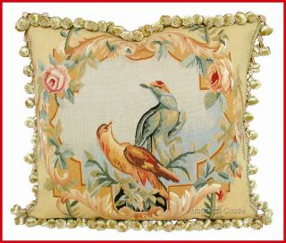 PARROTS BIRDS Aubusson Tapestry Pillow Cushion HAND WOVEN WOOL French
