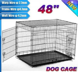 Doors 48 Large Folding Metal Pet Dog Crate Cage Kennel US SELLER