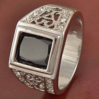 Antique 9K White GF Black CZ Mens Ring,size 7,W 052