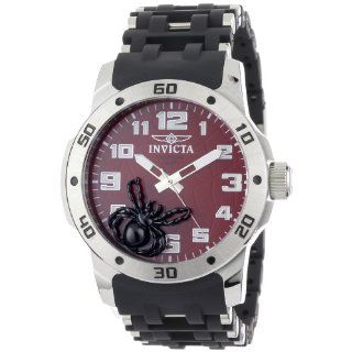 Invicta Mens 1122 Sea Spider Red Dial Black Polyurethane and