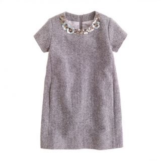 Girls jeweled herringbone shift dress   party   Girls dresses   J