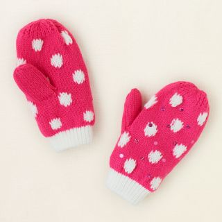 baby girl   polka dot knit mittens  Childrens Clothing  Kids