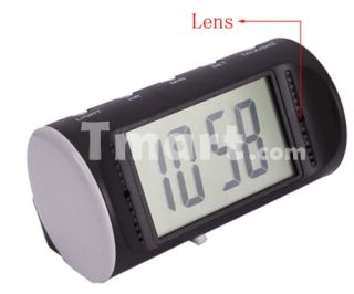 640 x 480 Digital Alarm Clock Pinhole Camera Black + Motion Detection