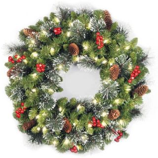 Pre Lit Crestwood Spruce Christmas Wreath at Brookstone—Buy Now