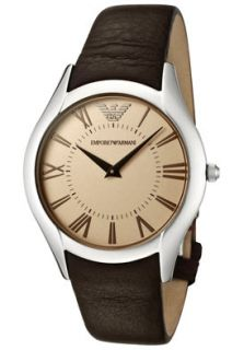 Emporio Armani AR2042 Watches,Mens Beige Dial Brown Leather, Mens