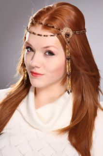 Gold High Polished Beaded Headpiece @ Amiclubwear Girls Hair Clip