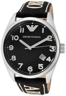 Emporio Armani AR0506 Watches,Mens Black Dial Black Canvas, Mens
