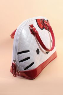 White Red Patent Faux Leather Hello Kitty Face Handbag @ Amiclubwear