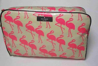 Kate Spade Flamingo Large Henrietta Cosmetic Case Make Up Bag NEW NWT