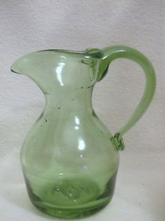 vintage green glass pitcher in Glassware