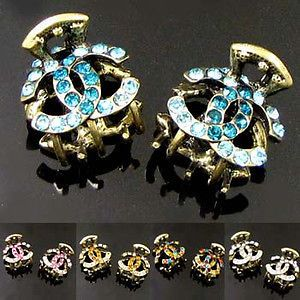ADDL Item  2p antiqued rhinestone crystal hair claw clip