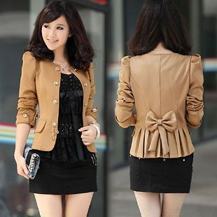 New Womens Slim Fit Business Double breasted Puff Sleeve Suit Blazer