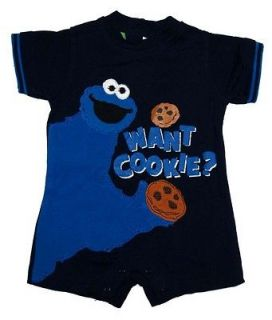Sesame Street Jim Henson Cookie Monster Want Cookie Baby Creeper