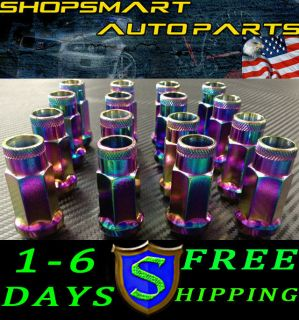 NEO CHROME STEEL TUNER LUG NUT SET 16 HONDA 1990 2001 INTEGRA LUGNUTS
