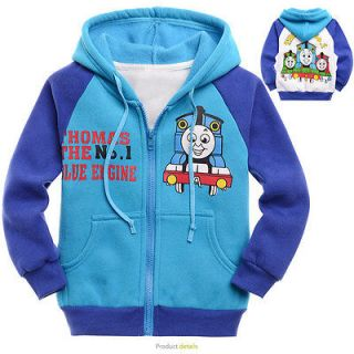 Years BLue Toddlers Kids Boys Thomas The Train Fleece Hooded Coat