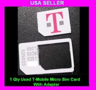 Used T Mobile Micro Sim Card With Adapter