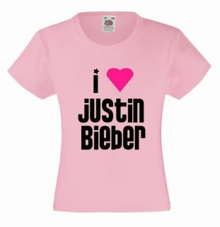 LOVE JUSTIN BIEBER Girls T Shirt 3 13yrs Pink Printed Heart Kids