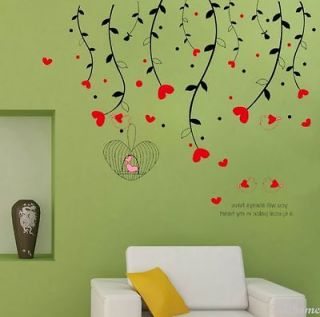 REMOVABE Tree & Birds Cage Adhesive Removable Wall Decor Accents