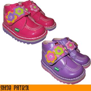 Kickers Kick Hi Infants Kids Girls Purple or Pink Strap Leather Boots