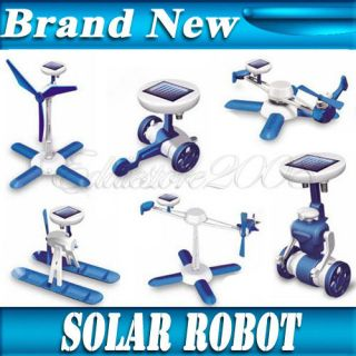Creative 6 IN 1 Solar Toy DIY Robots Plane Educational Kits Children